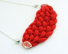 red braided necklace with leaf  knitted jewelry by spikycake, $20.00