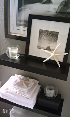 floating shelves above toilet Shelves Above Toilet, Bathroom Shelves, Bathroom Storage, Beach Bathrooms, Small Bathrooms, Tile Bathrooms, Small Candles, Rental Decorating, Decorating Ideas