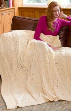 Butterfly Cabled Blanket Free Knitting Pattern from Red Heart Yarns