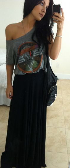 off the shoulder vintage tee paired with a maxi skirt and nylon shoulder sling bag. effortlessly cool