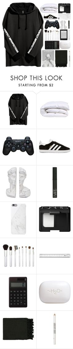 """""""I've been better~"""" by radicalelliot ❤ liked on Polyvore featuring Sony, adidas Originals, NARS Cosmetics, Native Union, Sonia Kashuk, Muji, H2O+, Surya and Lord & Berry"""