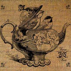 Two Birds Inside A Teapot Tea Pot Two For Tea Roses Bird Peek Out Digital Image Download Transfer To Pillows Tote Tea Towels Burlap No.2597