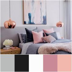 #RoomDecor #RoseGold #ColourScheme #Bedroom #TeaRose #OldRose #Pink #Grey #Black #FeatureWall #Colour #Room