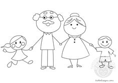 Art Drawings For Kids, Drawing For Kids, Easy Drawings, Art For Kids, Craft Activities For Kids, Preschool Crafts, Crafts For Kids, Family Coloring Pages, Grandparents Day Crafts