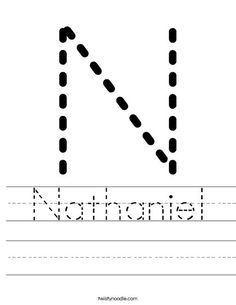 Nathaniel Worksheet - Twisty Noodle.  Love that you are able to create your own childs name