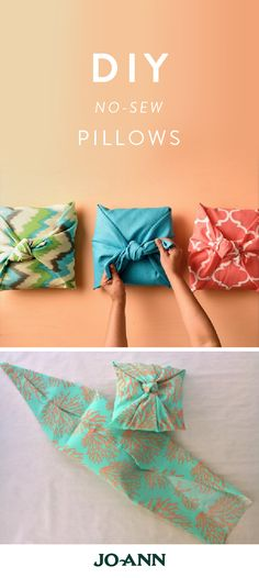 DIY GIFTS When the holidays roll around and you& in a rush to make your home look presentable for house guests, this project idea for No-Sew Pillows will become your lifesaver. Grab some patterned fabric and let& refresh the look of your living room! Diy Home, Home Crafts, Fun Crafts, Diy And Crafts, Diy Sewing Projects, Sewing Crafts, Craft Projects, Sewing Diy, Sew Pillows
