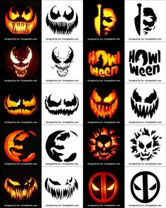 Free Printable Halloween Pumpkin Carving Stencils, Patterns, Designs, Faces & Ideas Free P Disney Pumpkin Stencils, Printable Pumpkin Stencils, Halloween Pumpkin Carving Stencils, Halloween Pumpkin Designs, Scary Halloween Pumpkins, Fete Halloween, Halloween Patterns, Pumpkin Painting, Cool Pumpkin Stencils