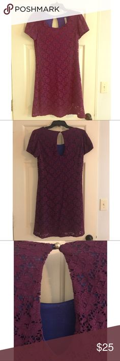 Boutique, Lace Overlay Dress - Size M Excellent used condition, Boutique, Lined, Lace Overlay Dress - Size M. Blue with purple overlay. Dresses Midi