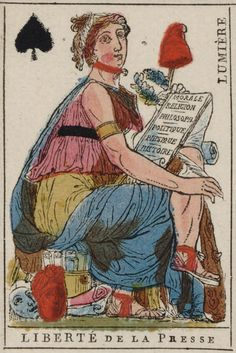 """French Revolution playing card issued 1793, Queen of Spades becomes """"Freedom of the Press"""" with the motto """"Enlightenment"""""""