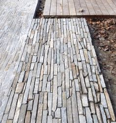 Slate path with an exposed edge