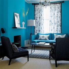 turquoise with black and white decor