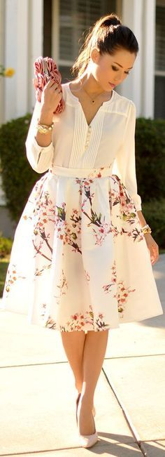 Chic Street style for Fall.....Sheinside White Multi Floral Print Full Midi A-skirt by Hapa Time