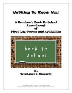 Getting to Know You:   A Teacher's Back To School Assortment  of  First Day Forms and Activities