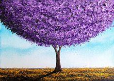 Bing Art by Rachel Bingaman: Purple Tree Landscape Painting, Abstract Tree Art, 5 x 7, Original Oil Painting