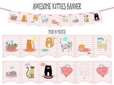 AWESOME KITTIES Printable Party Banner and by BashandDash on Etsy