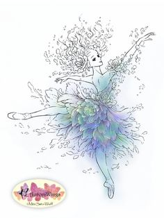 Instant Download - Digital Stamp - Ballet - Flower Ballerina- digistamp - Dancer with Pointe Shoes - Fantasy Line Art for Cards & Crafts