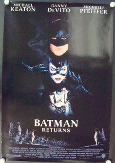 Original one sheet advance movie poster for Batman Returns starring Michael Keaton, Danny DeVito and Michelle Pfeiffer and directed by Tim Burton from 1992. 27 x 40 inches. Edge wear and horizontal crease at bottom.