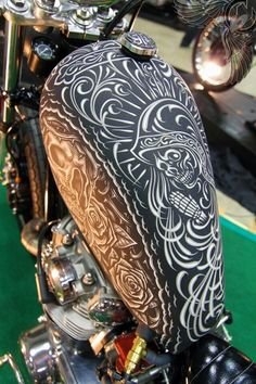 I love this pinstriping. i hope to begin pinstriping soon. Custom Motorcycles, Custom Bikes, Cars And Motorcycles, Custom Tanks, Custom Baggers, Custom Choppers, Chevrolet Bel Air, Chevrolet Chevelle, Pinstripe Art