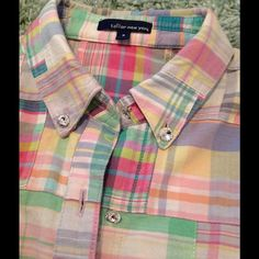 Tailor New York madras plaid shirt w/rhinestones M Ultra preppy with bling!!! 100% cotton madras plaid shirt with fun rhinestone buttons!! Great for summer!! M. (Runs small) Tailor new york Tops Button Down Shirts