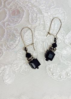 Onyx Earrings Silver Wire & Spacers Vintage Design by ESTATENOW