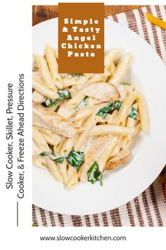 Cheap and tasty, quick and easy angel chicken! With crockpot, stovetop, pressure cooker, & freezer meal directions! I hope this recipe helps you feed everyone & makes them smile. Enjoy! | SlowCookerKitchen.com Slow Cooker Kitchen, Slow Cooker Pasta, Slow Cooker Chicken, Angel Chicken, Crockpot Recipes, Chicken Recipes, Italian Dressing Mix, Chicken Pasta, Freezer Meals