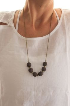 Earthy Brown Lava big and bold beaded necklace Minimalist Fall Autumn Holiday gift for her Bohemian style Bronze long necklace Rustic look on Etsy, $21.00