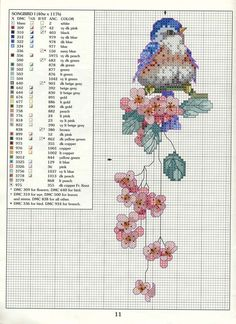 Songbird cross-stitch chart