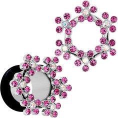 00 Gauge Pink and Aurora Gem Snowflake Steel Tunnel Plug Set