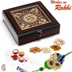 Picture of Ganapati Wooden Dry fruit Box and Rakhi Hamper