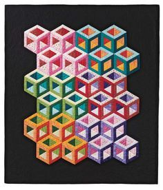 and More Tumbling Blocks Quilt Pattern Bright Quilts, Small Quilts, 3d Quilts, Patchwork Patterns, Quilt Block Patterns, Pattern Blocks, Stitch Patterns, Tumbling Blocks Quilt, Quilt Blocks