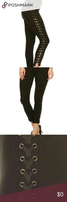 High waisted slim fit lace up pants Black high waisted pants in a slim fit ,lace up style, elastic waist band, cotton, polyester spandex material. Pants Straight Leg