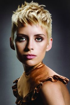 Layered Blonde Pixie Cut