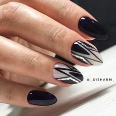 Black Nails with Geometric Designs Picture 2