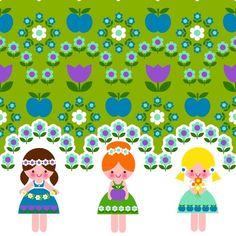 Kinderstoffe - Baumwoll-Jersey Doppelborte 'Flower Girls' - ein Designerstück von toddlin-town-fabrics bei DaWanda