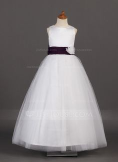A-Line/Princess Scoop Neck Floor-Length Tulle Flower Girl Dress With Sash Flower(s) Bow(s) (010002142) - JJsHouse