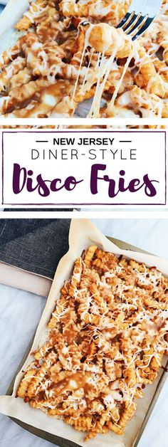 Jersey Diner-Style Disco Fries These Disco Fries are a New Jersey diner classic. Crunchy crinkle-cut fries get bathed in an easy homemade gravy and gooey mozzarella cheese. Diner Recipes, Snack Recipes, Cooking Recipes, Snacks, Diner Food, Group Recipes, Easy Homemade Gravy, Homemade Cheese, Good Food