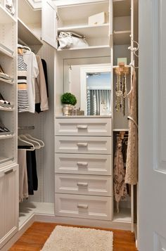 "The best way to treat closet interiors is to paint all surfaces with light-reflective white for maximum visibility. You can check how reflective your white is by looking on the color card at your local paint store for the LRV number. The higher the number (accompanied by the initials LRV, for ""light-reflective value""), the more the available"