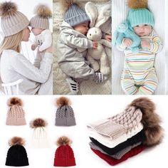 2Pcs Women Mother Kids Baby Winter Warm Knit Wool Fur Beanie Hat Crochet Ski Cap