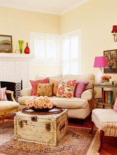 Spring Interior Design Ideas- like the white couch with different pillows for the different seasons
