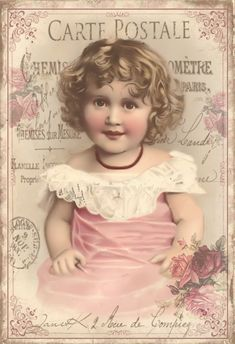 Sweet little girl in pink with bouquet of roses on a vintage postcard
