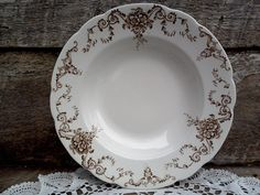 "BROWN SHALLOW BOWL, 9"",  W & E Corn England, Antique Ironstone, Floral Dorothy Pattern, Brown Transferware, Large bowl, English Transferware by CottonCreekCottage on Etsy https://www.etsy.com/listing/225794895/brown-shallow-bowl-9-w-e-corn-england"