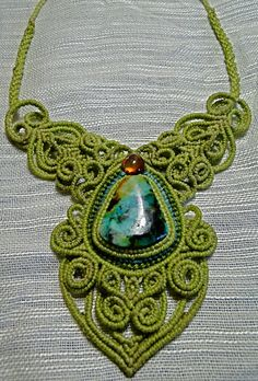 turquoise and amber, green wax polyester macrame necklace. $400.00, via Etsy.