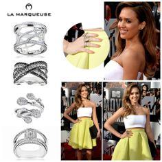 """Jessica Alba doskonale orientuje się w trendach biżuteryjnych. Takie pierścionki to """"must have"""" !:) ...: #JessicaAlba #Alba #pierscionki #bizuteria #LaMarqueuse #rings #trendy #trends #inspiracja #gwiazdy :..."""