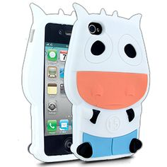 Barnimals Collection Moo Silicone Case for Apple iPhone 4/4S - White