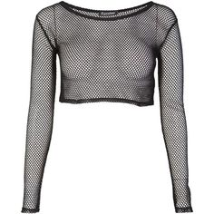Fishnet Crop Top (£8.99) ❤ liked on Polyvore featuring tops, shirts, crop tops, long sleeves, checkered shirt, longsleeve shirt, long sleeve tops, crop shirts and cropped long sleeve shirt
