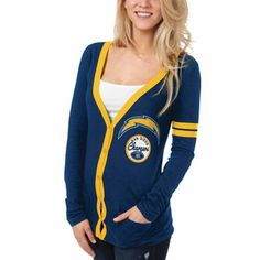 San Diego Chargers Ladies Slub Button-Up Long Sleeve Cardigan - Navy Blue