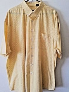 Shirt has been laundered & Ironed, ready to wear. Spring Shirts, Gingham Check, Men's Shirts, My Ebay, Chef Jackets, Ss, Yellow, Sleeve, Cotton