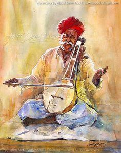 Folk Singer - 11 x 14 inch - Watercolor Abdul Salim Kochi Watercolor Paintings For Beginners, Watercolor Landscape Paintings, Watercolor Art, Watercolor Portraits, Abstract Paintings, Oil Paintings, Rajasthani Painting, Rajasthani Art, Art Village