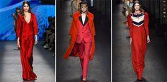 #FashionSnoops #women's trends on #WeConnectFashion. Runway FW 16/17, COLOR: Aurora Red / Milan.