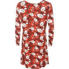 Zelina Festive Swing Dress (£23) ❤ liked on Polyvore featuring dresses, red, cocktail dresses, red evening dresses, special occasion dresses, red dress and red flare dress